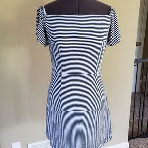 Blue and white striped Bebe dress